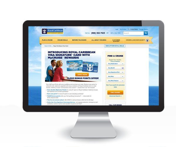 Royal Caribbean credit card landing page on desktop computer